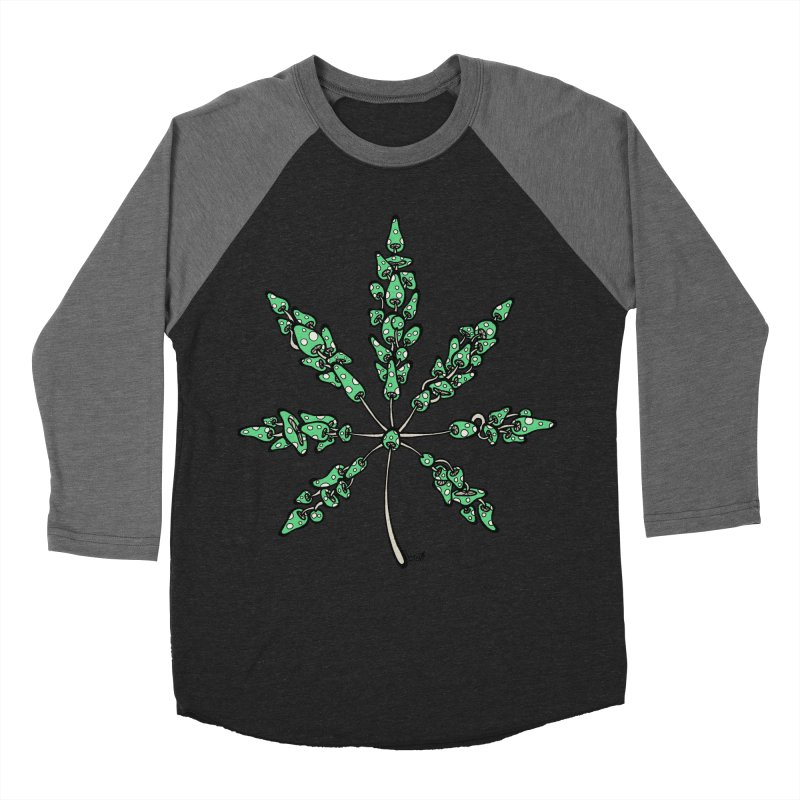 Leaf Made of Mushrooms (green version) Men's Baseball Triblend T-Shirt by brettgilbert's Artist Shop