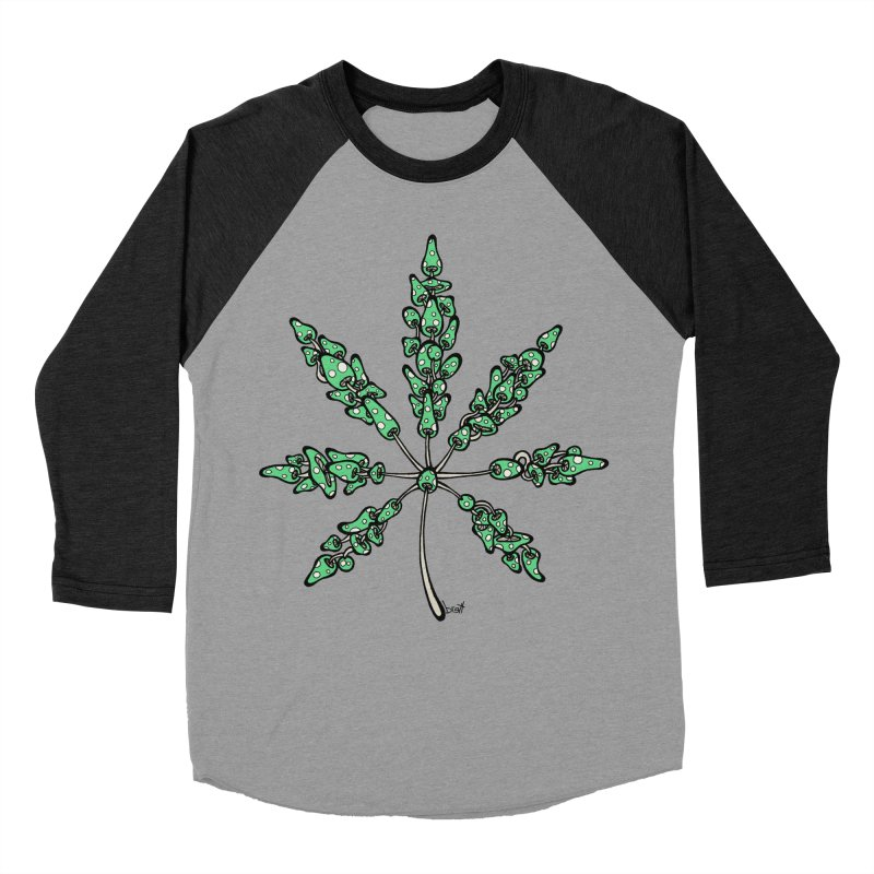 Leaf Made of Mushrooms (green version) Men's Baseball Triblend Longsleeve T-Shirt by brettgilbert's Artist Shop