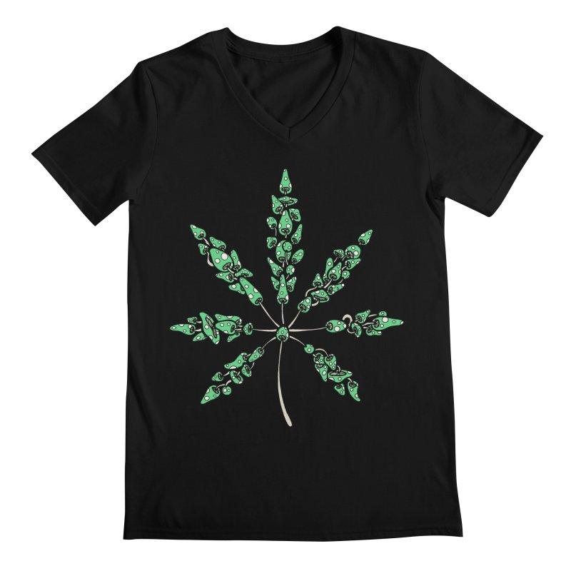 Leaf Made of Mushrooms (green version) Men's Regular V-Neck by brettgilbert's Artist Shop