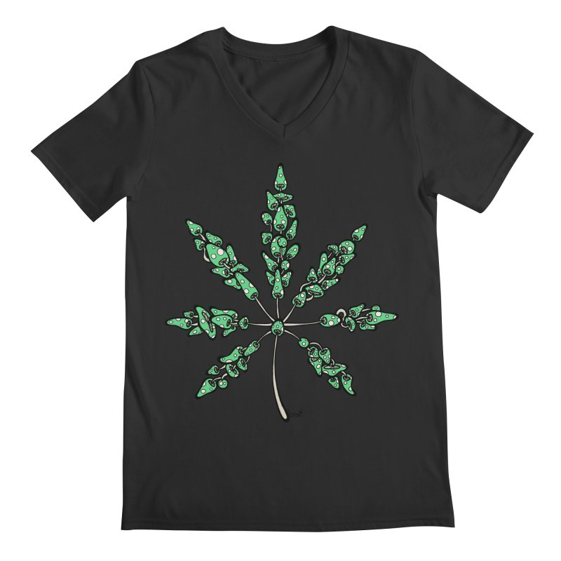 Leaf Made of Mushrooms (green version) Men's V-Neck by brettgilbert's Artist Shop