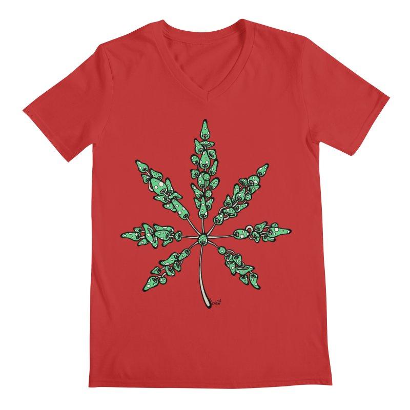 Leaf Made of Mushrooms (green version) Men's V-Neck by brettgilbert's Artist Shop