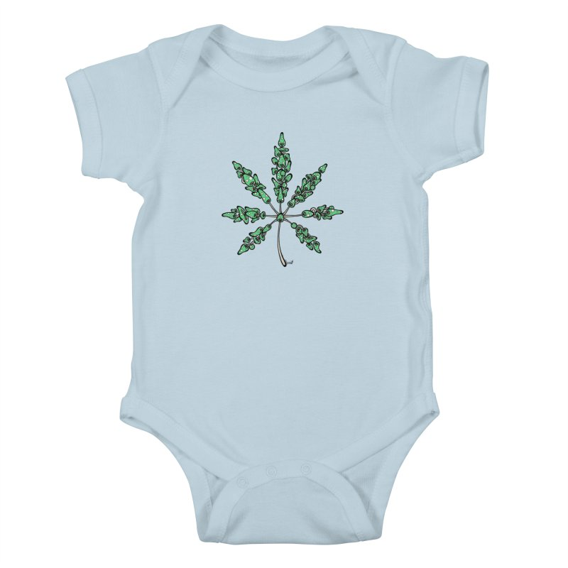 Leaf Made of Mushrooms (green version) Kids Baby Bodysuit by brettgilbert's Artist Shop