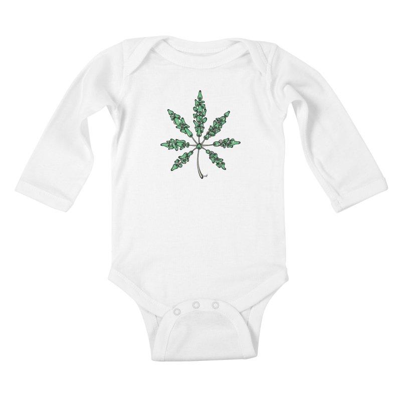 Leaf Made of Mushrooms (green version) Kids Baby Longsleeve Bodysuit by brettgilbert's Artist Shop