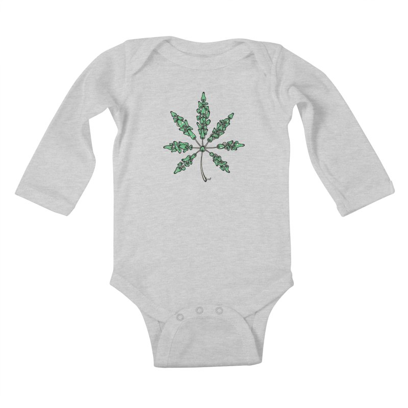 Leaf Made of Mushrooms (green version) Kids Baby Longsleeve Bodysuit by brettgilbert's Artist Shop