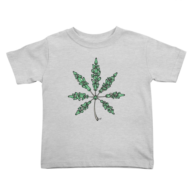 Leaf Made of Mushrooms (green version) Kids Toddler T-Shirt by brettgilbert's Artist Shop