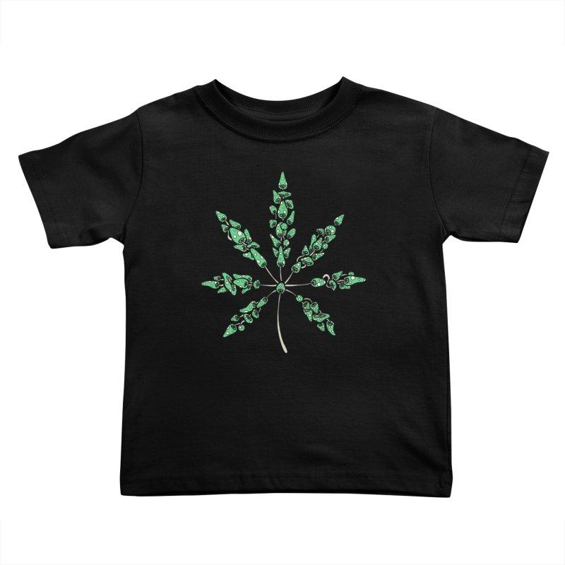 Leaf Made of Mushrooms (green version) Kids Toddler T-Shirt by brettgilbert's Artist Shop