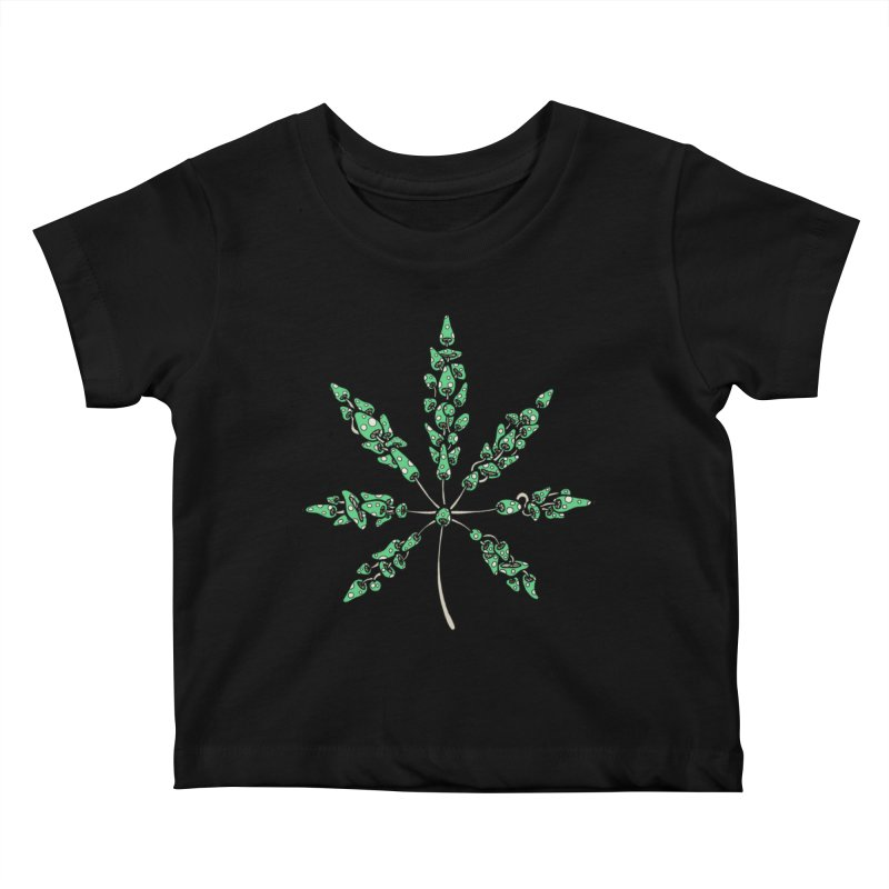Leaf Made of Mushrooms (green version) Kids Baby T-Shirt by brettgilbert's Artist Shop
