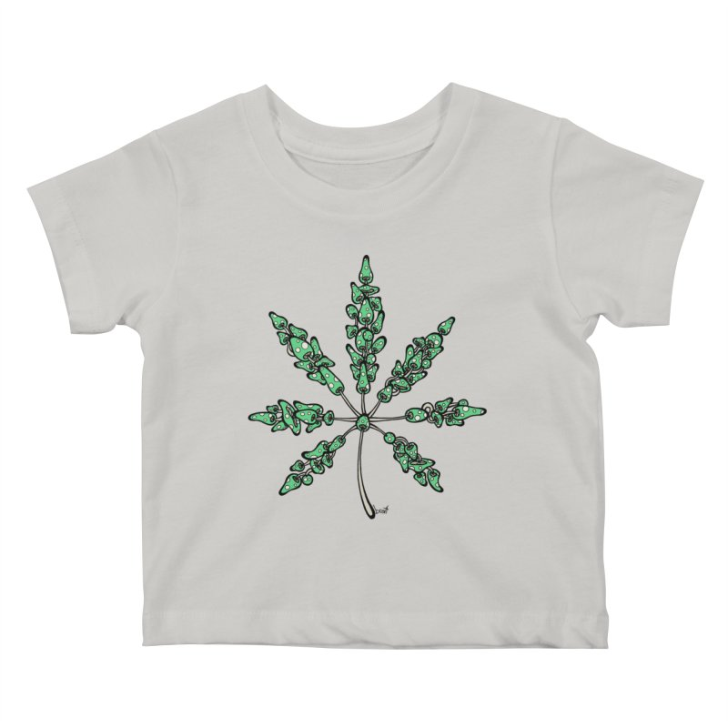 Leaf Made of Mushrooms (green version) Kids Baby T-Shirt by brettgilbert's Artist Shop