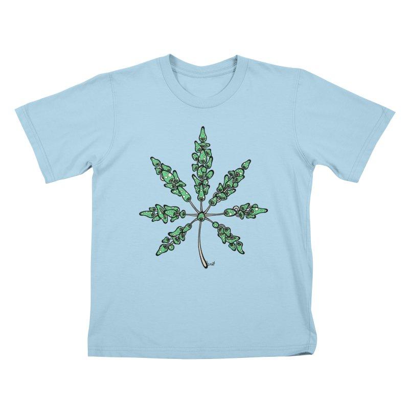 Leaf Made of Mushrooms (green version) Kids T-Shirt by brettgilbert's Artist Shop