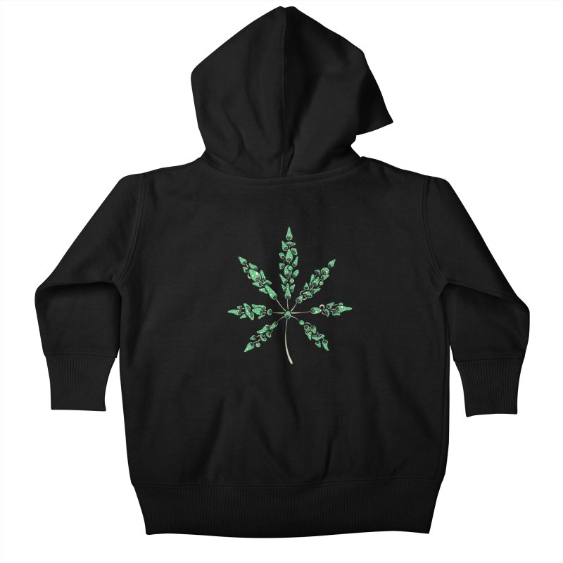 Leaf Made of Mushrooms (green version) Kids Baby Zip-Up Hoody by brettgilbert's Artist Shop