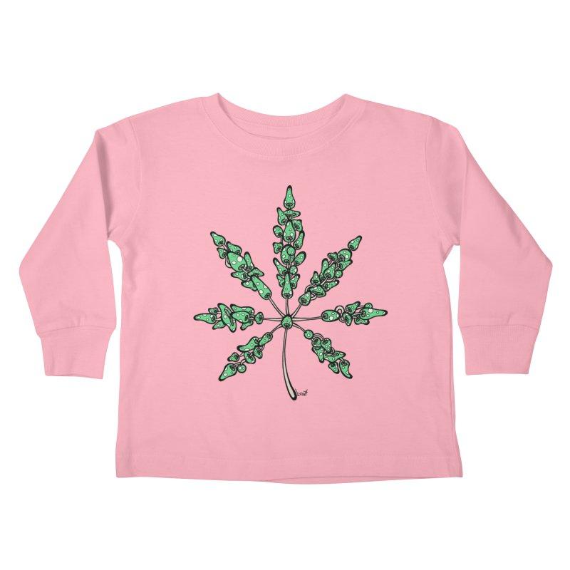 Leaf Made of Mushrooms (green version) Kids Toddler Longsleeve T-Shirt by brettgilbert's Artist Shop