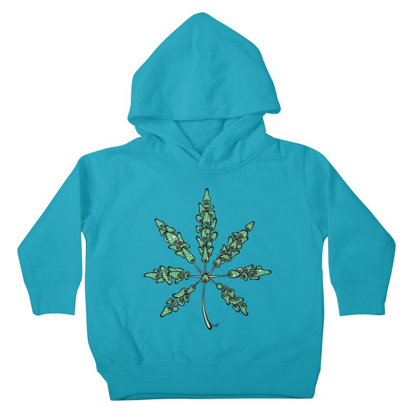 Leaf Made of Mushrooms (green version) Kids Toddler Pullover Hoody by brettgilbert's Artist Shop