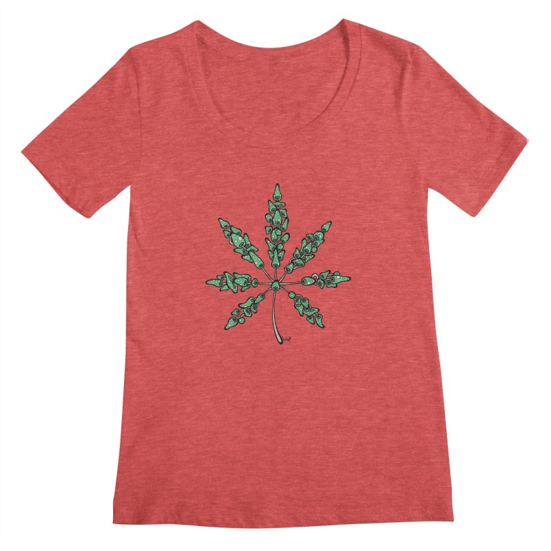 Leaf Made of Mushrooms (green version) Women's Scoopneck by brettgilbert's Artist Shop
