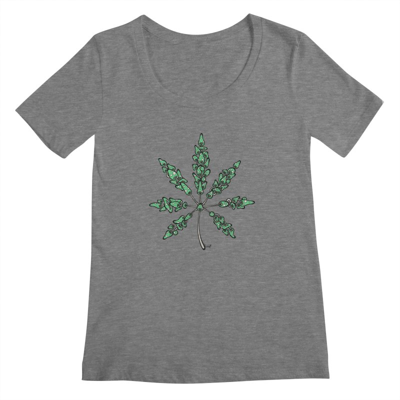 Leaf Made of Mushrooms (green version) Women's Scoopneck by brettgilbert's Artist Shop