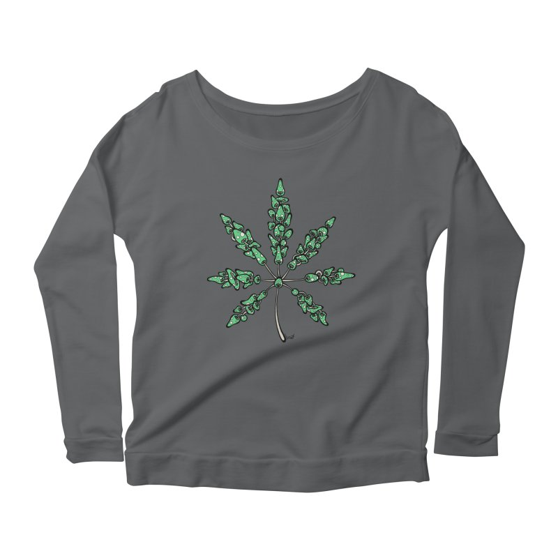 Leaf Made of Mushrooms (green version) Women's Scoop Neck Longsleeve T-Shirt by brettgilbert's Artist Shop