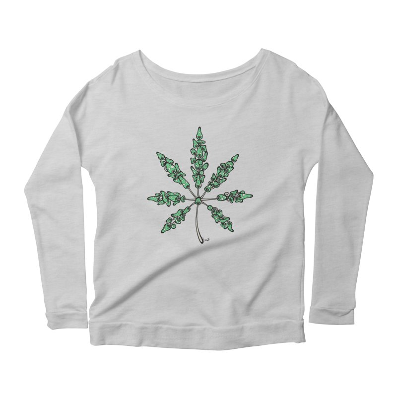 Leaf Made of Mushrooms (green version) Women's Longsleeve Scoopneck  by brettgilbert's Artist Shop