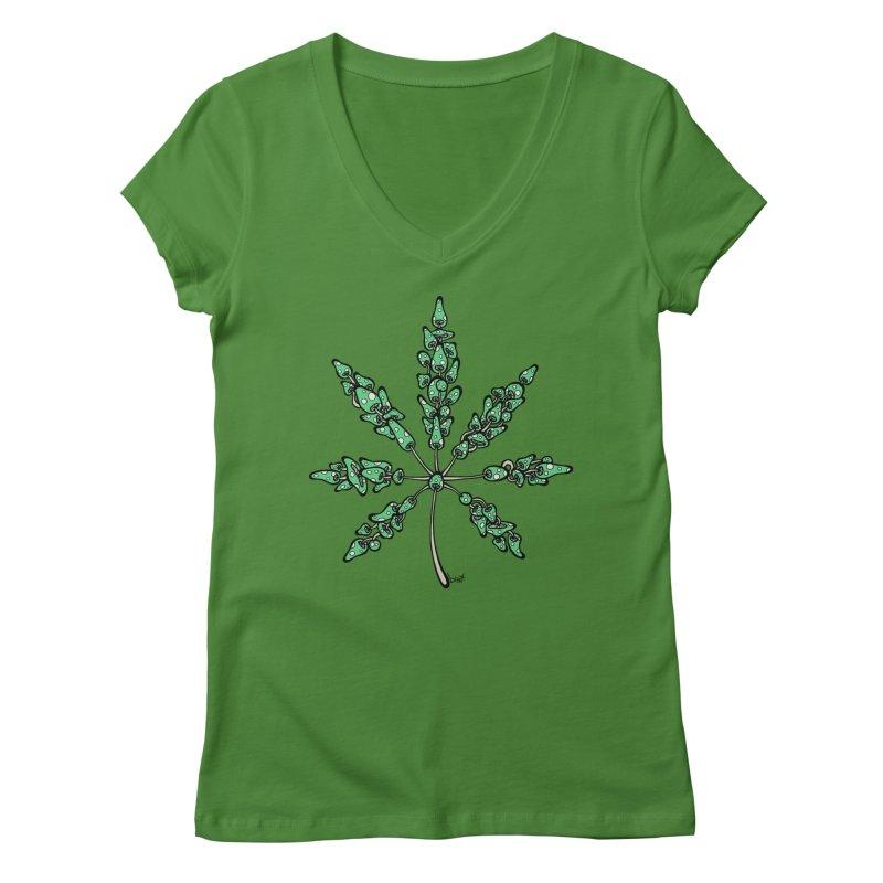 Leaf Made of Mushrooms (green version) Women's V-Neck by brettgilbert's Artist Shop