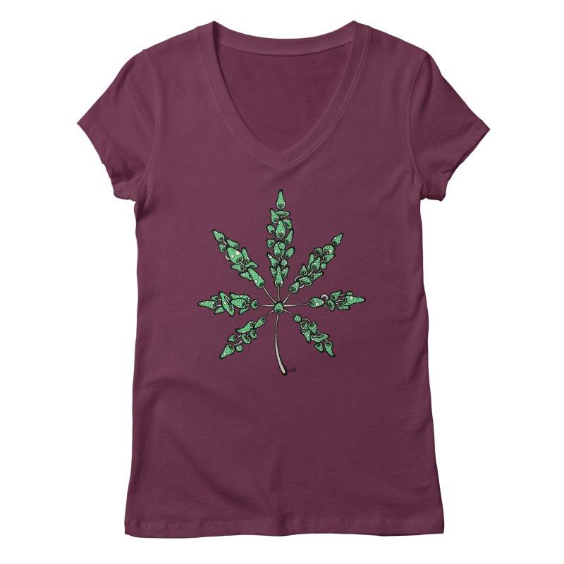 Leaf Made of Mushrooms (green version) Women's Regular V-Neck by brettgilbert's Artist Shop