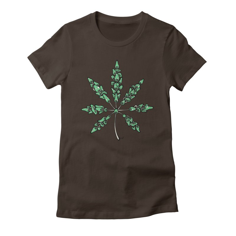 Leaf Made of Mushrooms (green version) Women's Fitted T-Shirt by brettgilbert's Artist Shop