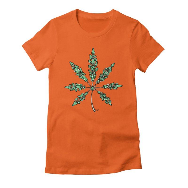 Leaf Made of Mushrooms (green version) Women's Fitted T-Shirt by brettgilbert's Artist Shop