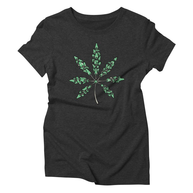 Leaf Made of Mushrooms (green version) Women's Triblend T-Shirt by brettgilbert's Artist Shop