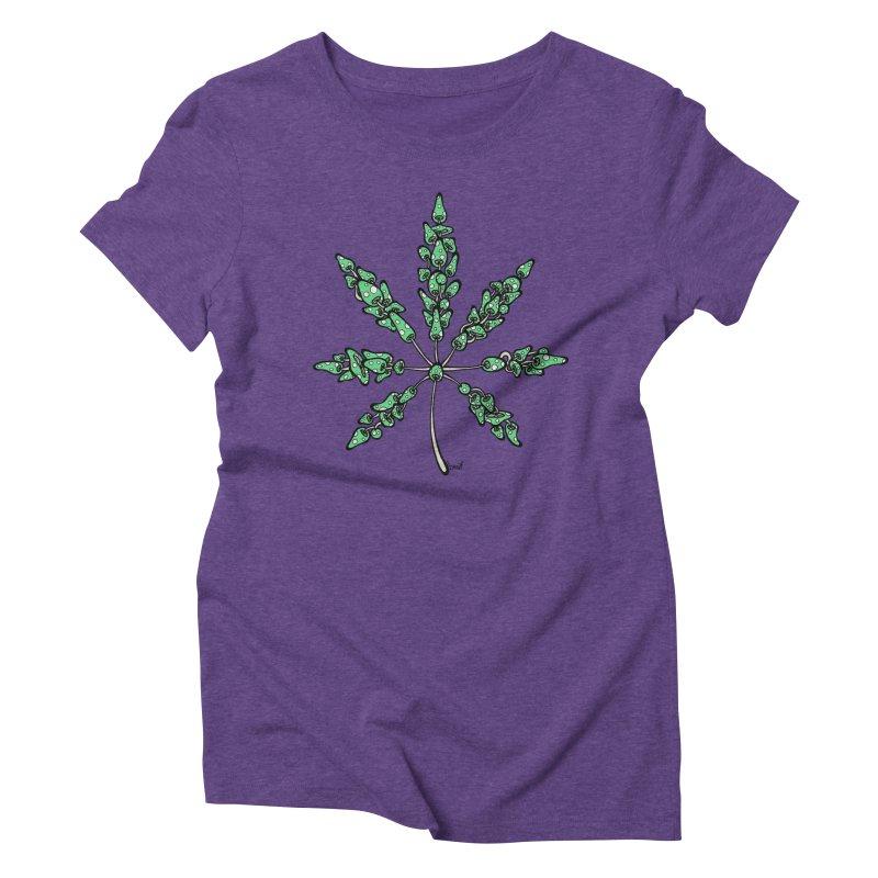 Leaf Made of Mushrooms (green version) Women's Triblend T-Shirt by brettgilbert's Artist Shop