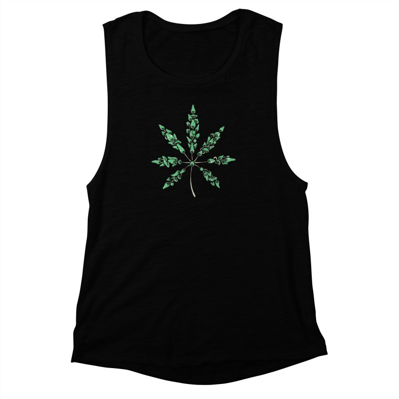 Leaf Made of Mushrooms (green version) Women's Muscle Tank by brettgilbert's Artist Shop