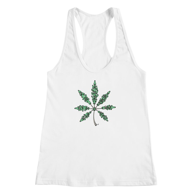 Leaf Made of Mushrooms (green version) Women's Racerback Tank by brettgilbert's Artist Shop