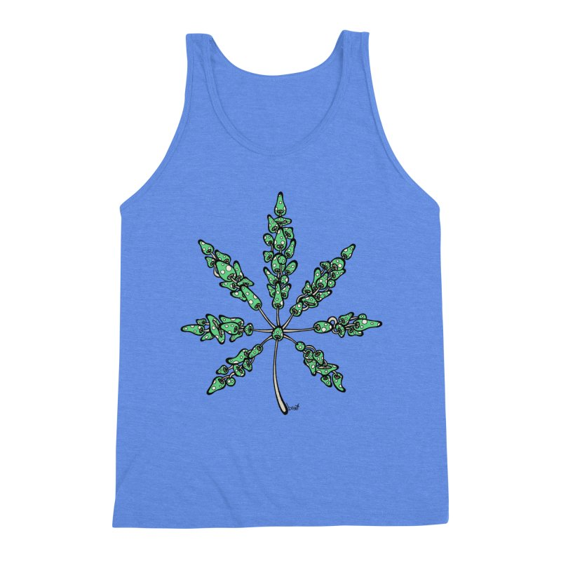 Leaf Made of Mushrooms (green version) Men's Triblend Tank by brettgilbert's Artist Shop