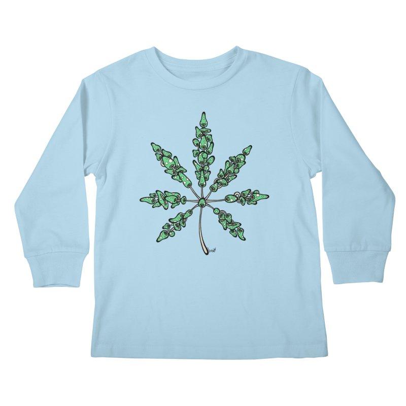 Leaf Made of Mushrooms (green version) Kids Longsleeve T-Shirt by brettgilbert's Artist Shop
