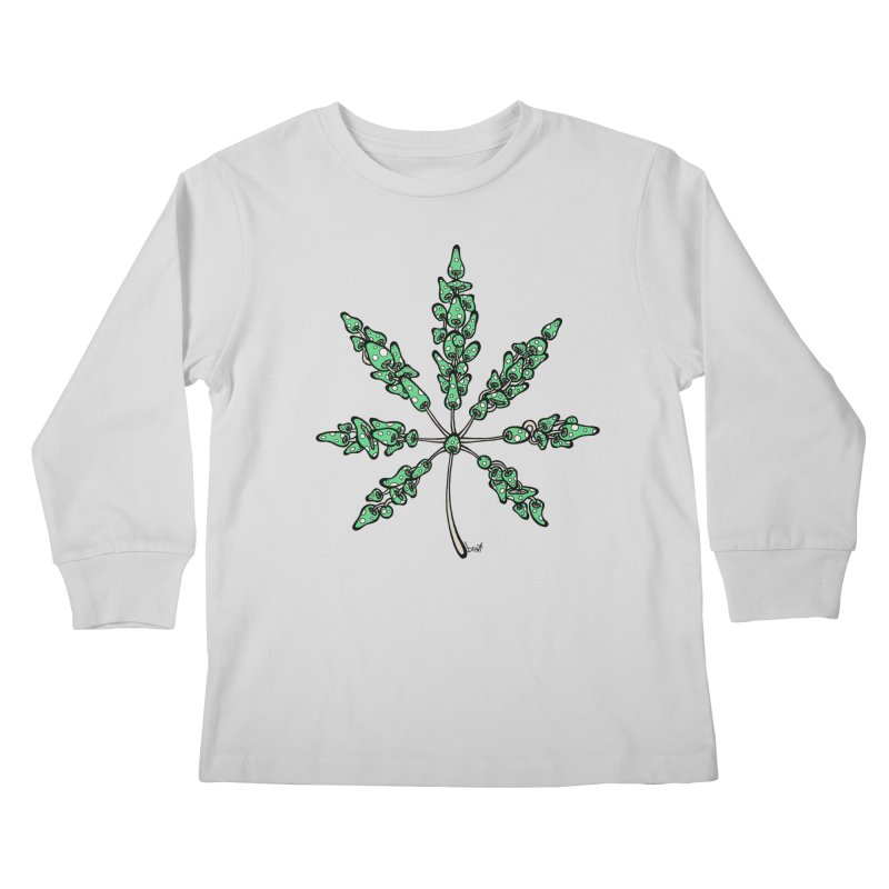 Leaf Made of Mushrooms (green version) Kids Longsleeve T-Shirt by brettgilbert's Artist Shop