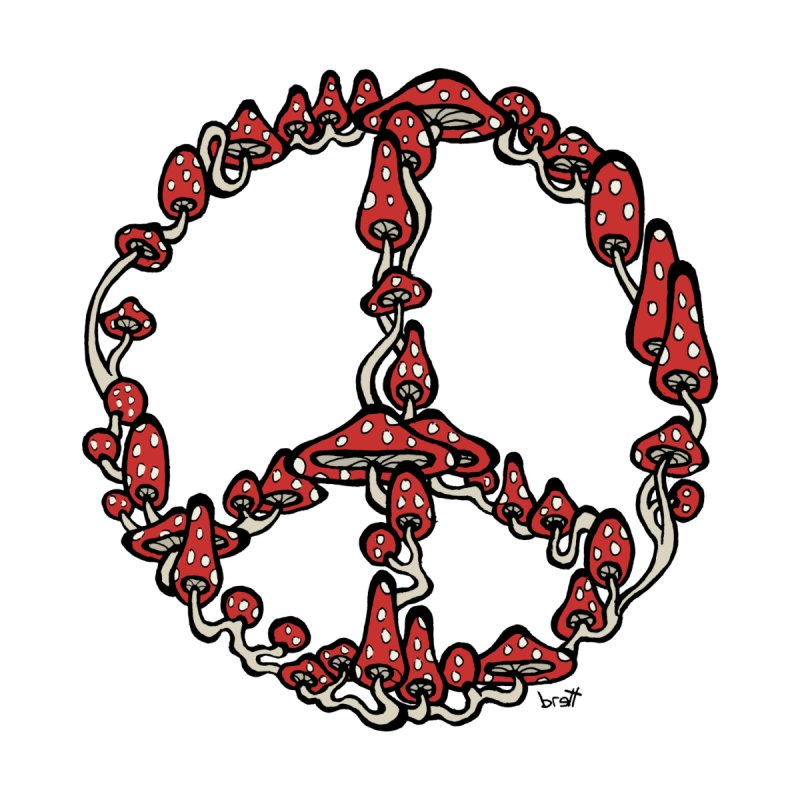 Peace Symbol Made of Mushrooms (red version) None  by brettgilbert's Artist Shop