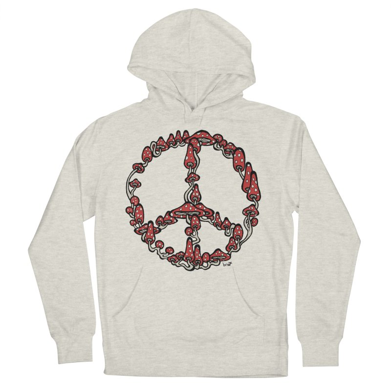 Peace Symbol Made of Mushrooms (red version) Women's French Terry Pullover Hoody by brettgilbert's Artist Shop