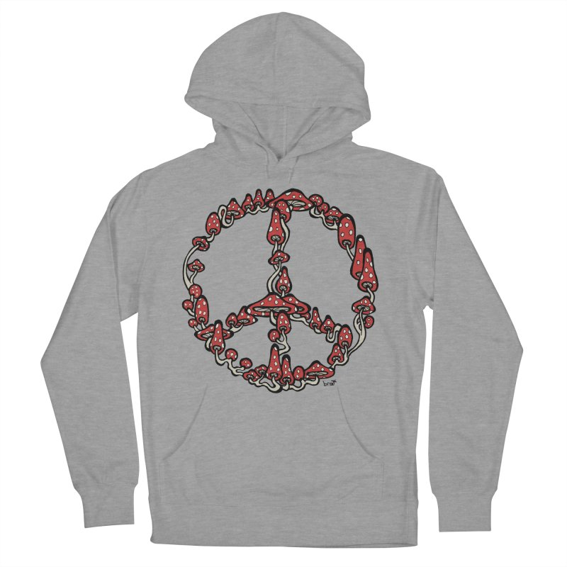 Peace Symbol Made of Mushrooms (red version) Men's French Terry Pullover Hoody by brettgilbert's Artist Shop