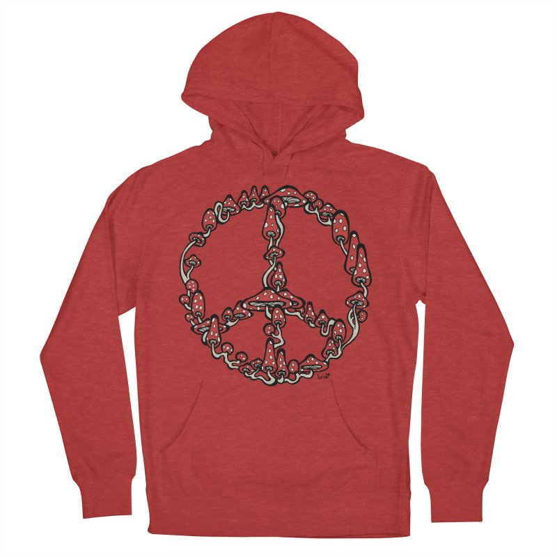 Peace Symbol Made of Mushrooms (red version) Men's Pullover Hoody by brettgilbert's Artist Shop