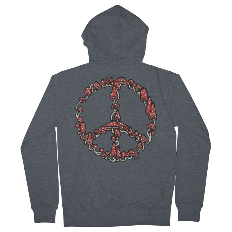 Peace Symbol Made of Mushrooms (red version) Women's Zip-Up Hoody by brettgilbert's Artist Shop