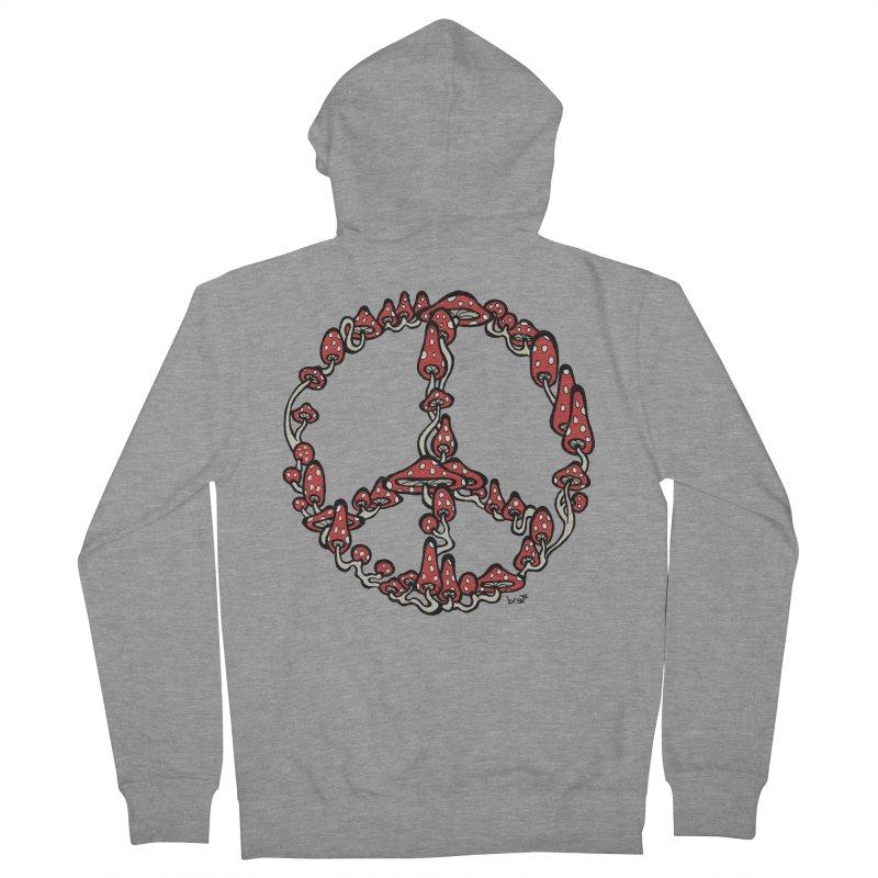 Peace Symbol Made of Mushrooms (red version) Women's Zip-Up Hoody by brettgilbert's Artist Shop