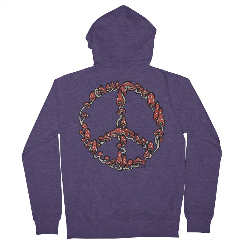 Peace Symbol Made of Mushrooms (red version) Men's French Terry Zip-Up Hoody by brettgilbert's Artist Shop