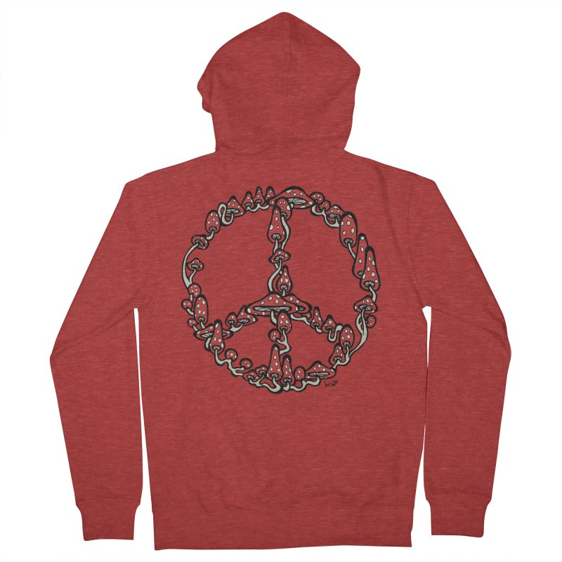 Peace Symbol Made of Mushrooms (red version) Men's Zip-Up Hoody by brettgilbert's Artist Shop