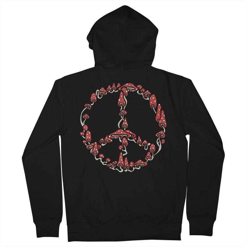 Peace Symbol Made of Mushrooms (red version) Men's Zip-Up Hoody by brettgilbert's Artist Shop