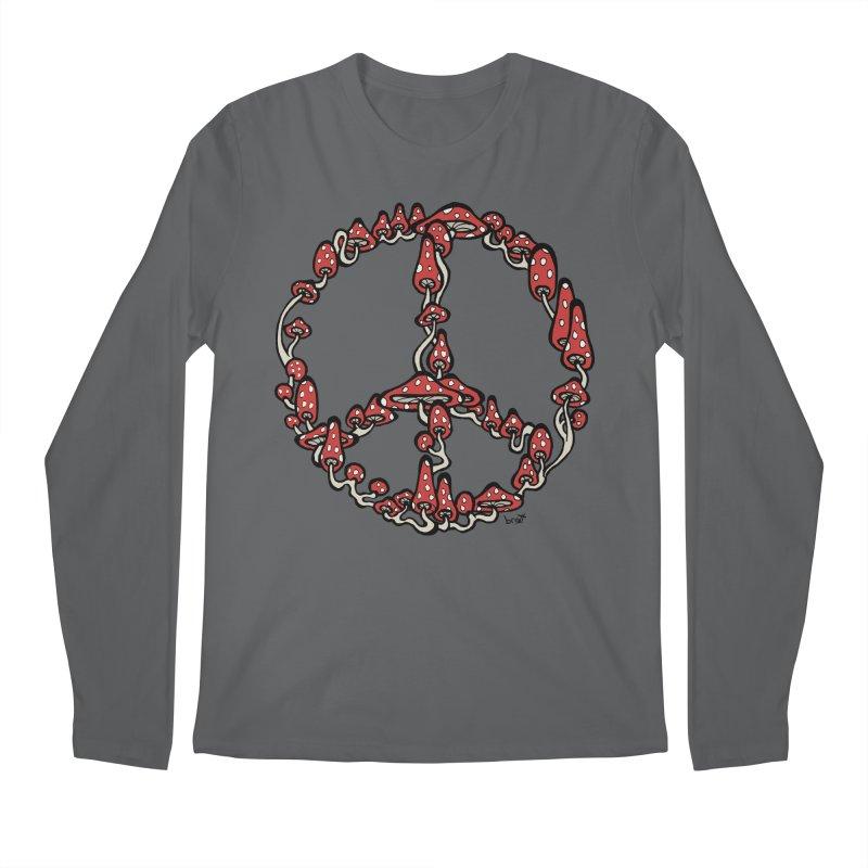 Peace Symbol Made of Mushrooms (red version) Men's Longsleeve T-Shirt by brettgilbert's Artist Shop