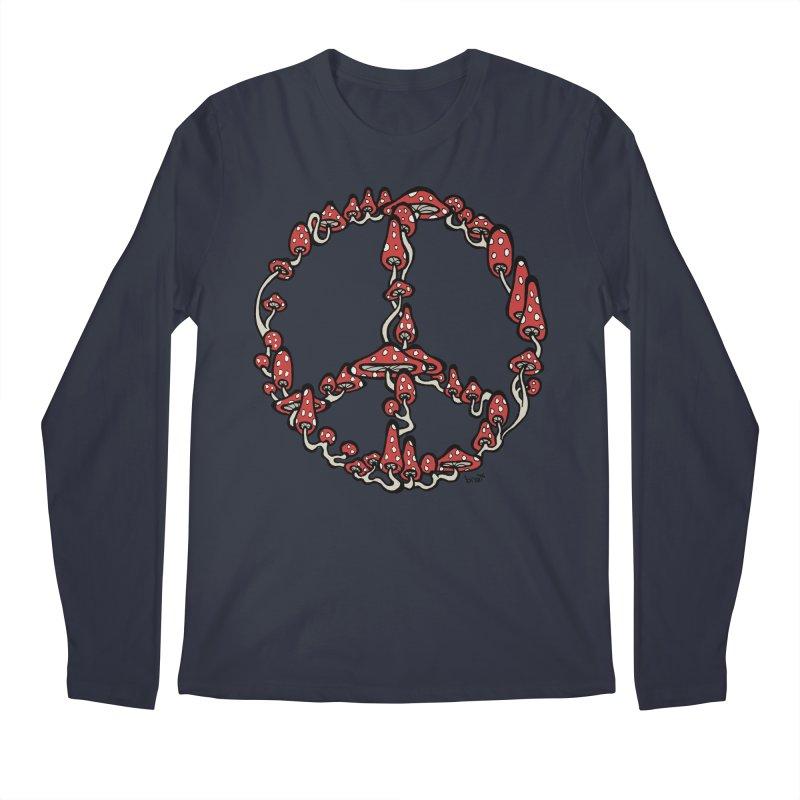 Peace Symbol Made of Mushrooms (red version) Men's Regular Longsleeve T-Shirt by brettgilbert's Artist Shop