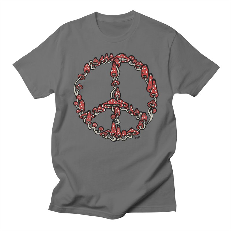 Peace Symbol Made of Mushrooms (red version) Men's T-shirt by brettgilbert's Artist Shop