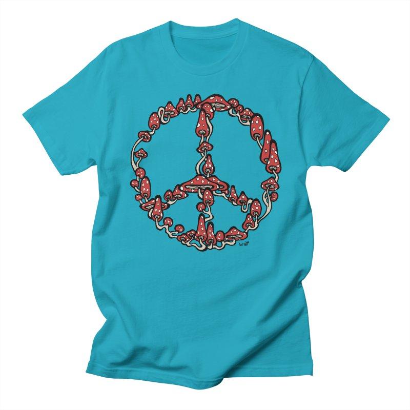 Peace Symbol Made of Mushrooms (red version) Men's T-shirt by brettgilbert's Artist Shop
