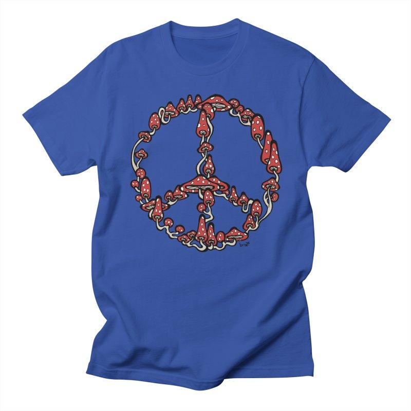 Peace Symbol Made of Mushrooms (red version) Men's Regular T-Shirt by brettgilbert's Artist Shop