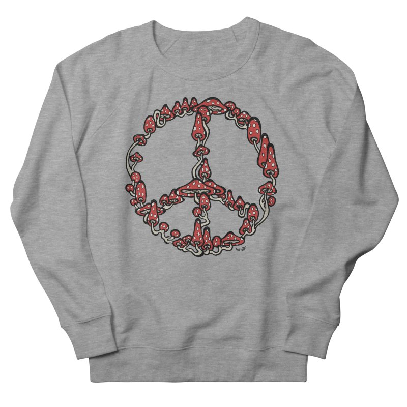 Peace Symbol Made of Mushrooms (red version) Women's French Terry Sweatshirt by brettgilbert's Artist Shop