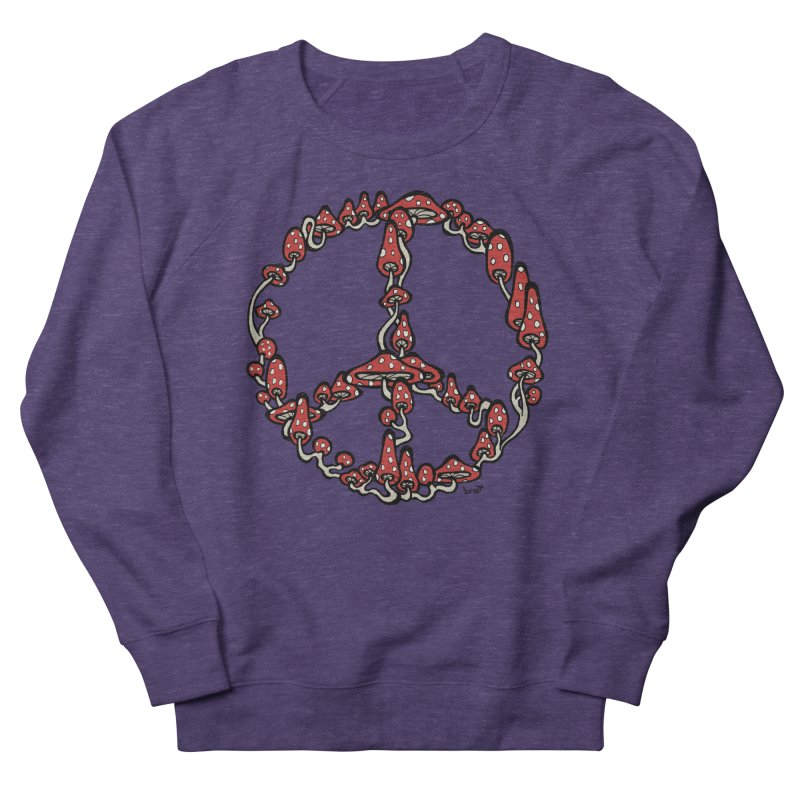 Peace Symbol Made of Mushrooms (red version) Men's French Terry Sweatshirt by brettgilbert's Artist Shop