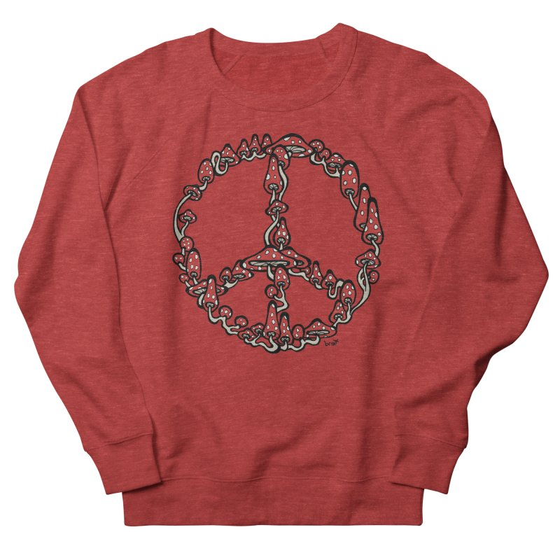 Peace Symbol Made of Mushrooms (red version) Men's French Terry Sweatshirt by brettgilbert's Artist Shop