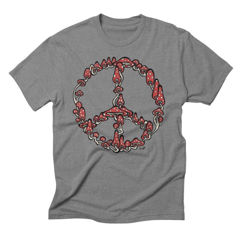 Peace Symbol Made of Mushrooms (red version) Men's Triblend T-Shirt by brettgilbert's Artist Shop