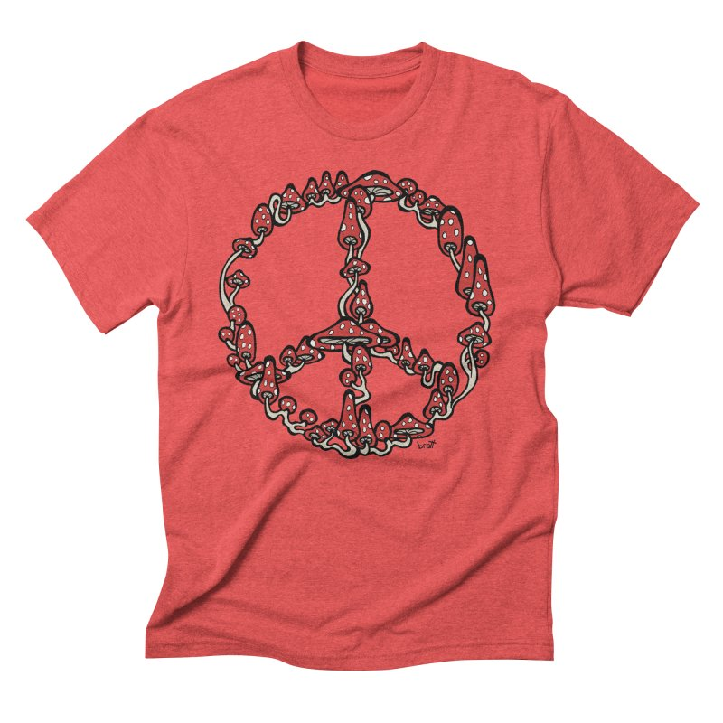 Peace Symbol Made of Mushrooms (red version) Men's Triblend T-Shirt by brettgilbert's Artist Shop